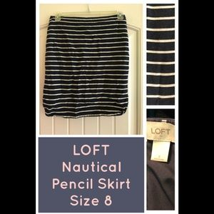 LOFT Blue White Nautical Striped Pencil Skirt Sz 8